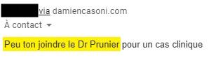 Comment joindre le Dr Prunier ?
