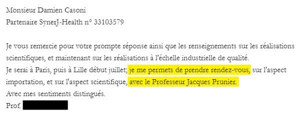 Prendre RDV avec Jacques Prunier.